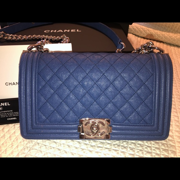 CHANEL Handbags - 100% Auth Chanel Boy Bag Blue Caviar Leather